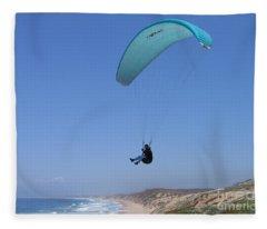Paraglider Over Sand City Fleece Blanket