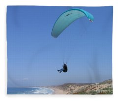 Paraglider Over Sand City Fleece Blanket