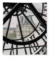 Paris Clock Fleece Blanket