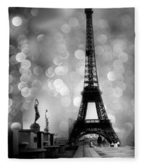 Paris Eiffel Tower Surreal Black And White Photography - Eiffel Tower Bokeh Surreal Fantasy Night  Fleece Blanket