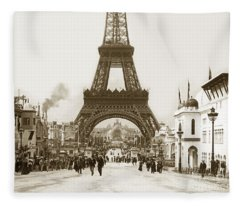 Paris Exposition Eiffel Tower Paris France 1900  Historical Photos Fleece Blanket