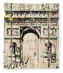 Paris Gate Vintage Poster Fleece Blanket
