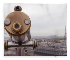 Paris Rooftops Telescope View Of Eiffel Tower - Paris Telescope Rooftop Eiffel Tower View Fleece Blanket