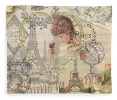 Paris Vintage Collage With Child Fleece Blanket