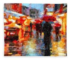Parisian Rain Walk Abstract Realism Fleece Blanket
