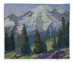 Park Sunrise At Mount Rainier Fleece Blanket