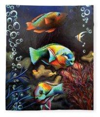 Parrot Fish Fleece Blanket