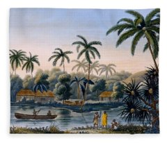Part Of The Village Of Matavae, Coconut Fleece Blanket
