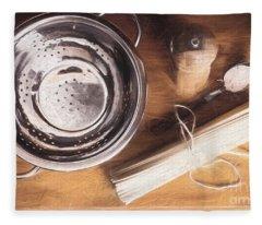 Pasta Preparation. Vintage Photo Sketch Fleece Blanket