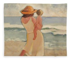 Pastel Morning Beach Pastel Morning Mother And Baby Fleece Blanket