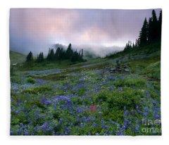 Pastel Mountain Dawn Fleece Blanket