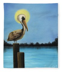 Patiently Fishing Fleece Blanket