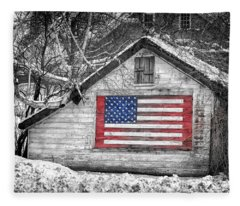 Patriotic American Shed Fleece Blanket