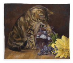 Paw In The Vase Fleece Blanket