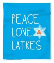 Peace Love And Latkes Fleece Blanket