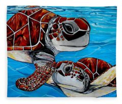 Peace Love And Turtles Fleece Blanket