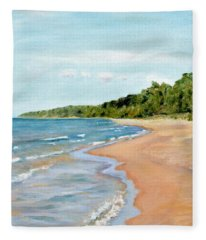Peaceful Beach At Pier Cove Fleece Blanket