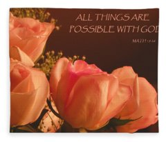Peach Roses With Scripture Fleece Blanket