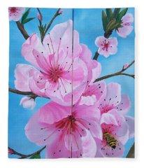 Peach Tree In Bloom Diptych Fleece Blanket