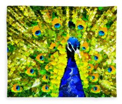 Peacock Abstract Realism Fleece Blanket