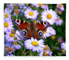 Peacock Butterfly Perched On The Daisies Fleece Blanket
