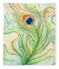 Peacock Feather Watercolor Fleece Blanket