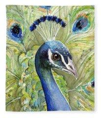 Peacock Watercolor Portrait Fleece Blanket