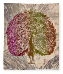 Peacock With Rainbow Colors Fleece Blanket