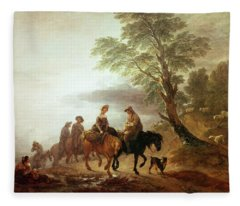 Peasants Going To Market Early Morning Fleece Blanket