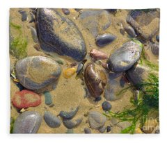 Pebbles On The Beach Fleece Blanket