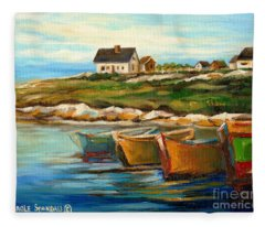 Peggys Cove With Fishing Boats Fleece Blanket