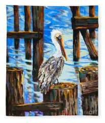 Pelican And Pilings Fleece Blanket