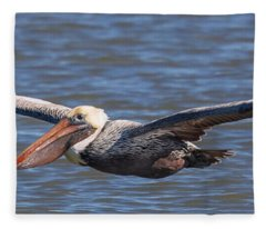 Pelican In Flight Fleece Blanket
