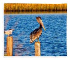 Pelican On A Pole Fleece Blanket