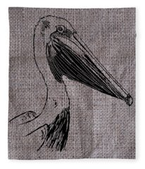 Pelican On Burlap Fleece Blanket