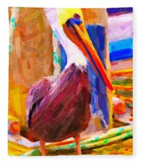 Pelican On The Dock Fleece Blanket