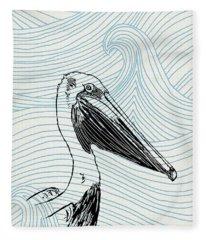 Pelican On Waves Fleece Blanket