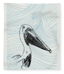 Pelican On Waves Fleece Blanket