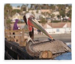 Pelican Sitting On Pier  Fleece Blanket