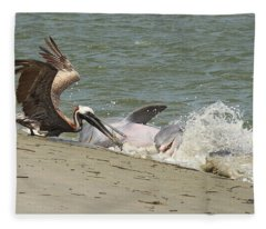 Pelican Steals The Fish Fleece Blanket