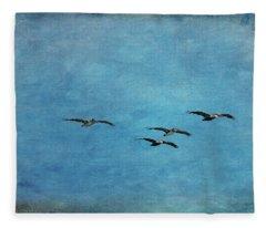 Pelicans In Flight Fleece Blanket