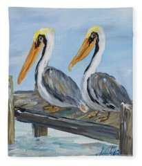 Pelicans On Deck Fleece Blanket