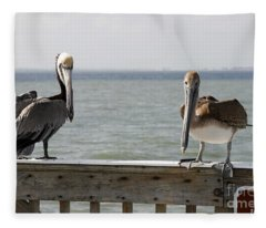 Pelicans On The Pier At Fort Myers Beach In Florida Fleece Blanket