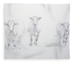 Pencil Drawing Of Three Cows Fleece Blanket