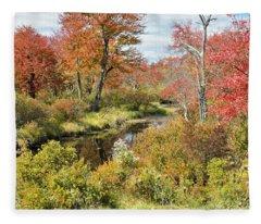Pennsylvania Stream In Autumn Pocono Mountains Fleece Blanket
