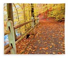 Pennypack Trail Philadelphia Fall Fleece Blanket