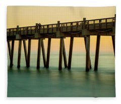 Pensacola Beach Fishing Pier Fleece Blanket