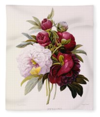 Peonies Engraved By Prevost Fleece Blanket