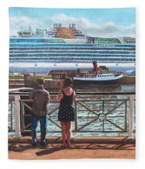 People At Southampton Eastern Docks Viewing Ship Fleece Blanket