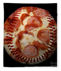 Pepperoni Pizza Baseball Square Fleece Blanket